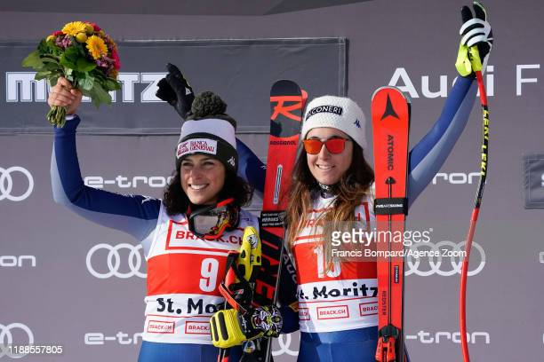 Federica Brignone of Italy takes 2nd place Sofia Goggia of Italy takes 1st place during the Audi FIS Alpine Ski World Cup Women's Super G on December...