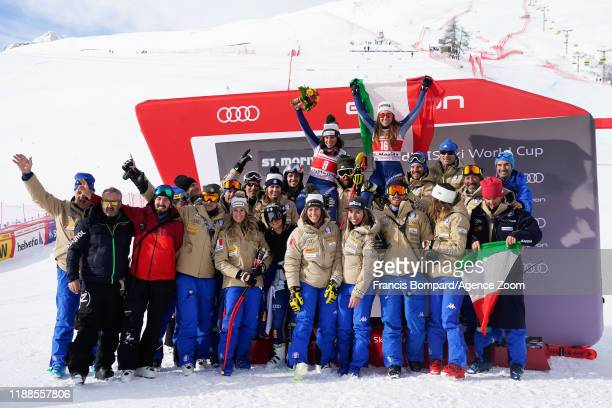 Federica Brignone of Italy takes 2nd place Sofia Goggia of Italy takes 1st place Team Italian during the Audi FIS Alpine Ski World Cup Women's Super...