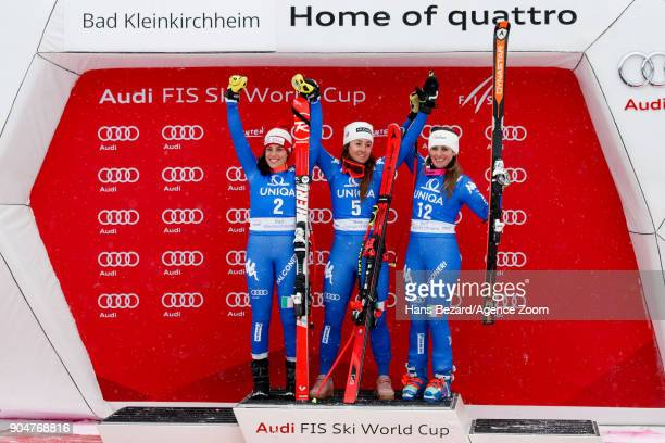 Federica Brignone of Italy takes 2nd place Sofia Goggia of Italy takes 1st place Nadia Fanchini of Italy takes 3rd place during the Audi FIS Alpine...