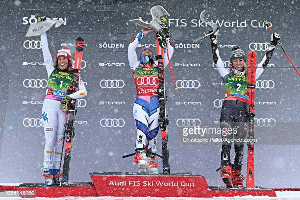 Federica Brignone of Italy takes 2nd place Tessa Worley of France takes 1st place Mikaela Shiffrin of USA takes 3rd place during the Audi FIS Alpine...
