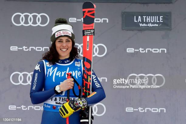 Federica Brignone of Italy takes 3rd place, celebrates during the Audi FIS Alpine Ski World Cup Women's Super G on February 29, 2020 in La Thuile...