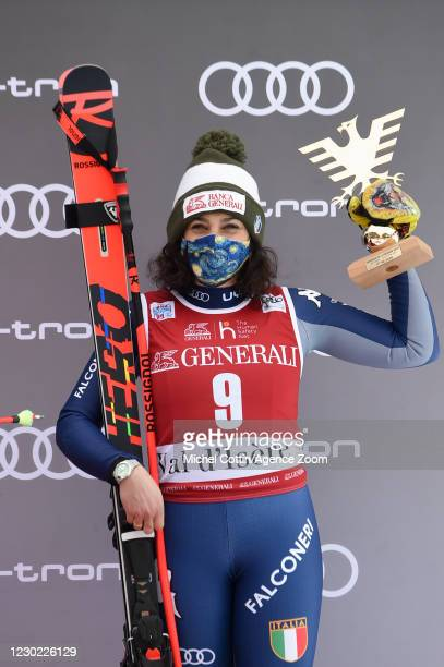 Federica Brignone of Italy takes 3rd place during the Audi FIS Alpine Ski World Cup Women's Super Giant Slalom on December 20, 2020 in Val d'Isere...