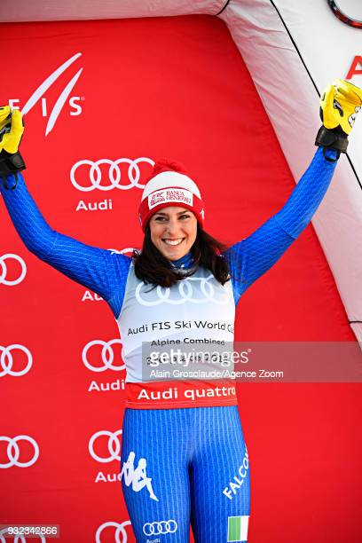 Federica Brignone of Italy takes 3rd place in the women alpine combined standing during the Audi FIS Alpine Ski World Cup Finals Men's and Women's...
