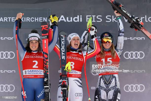 Federica Brignone of Italy, Viktoria Rebensburg of Germany, Ester Ledecka of Czech Republic during the Audi FIS Alpine Ski World Cup Women's Downhill...