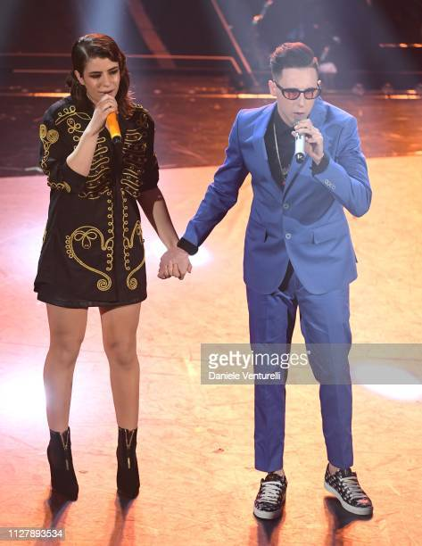 Federica Carta and Shade on stage during the second night of the 69th Sanremo Music Festival at Teatro Ariston on February 06 2019 in Sanremo Italy