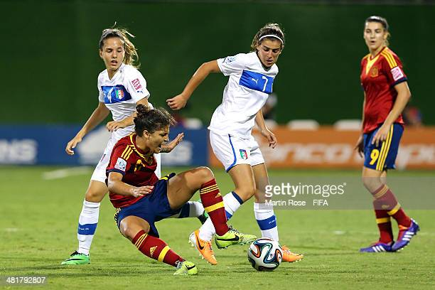 Federica Cavicchia and Valentina Bergamaschi of Italy and SandraHernandez of Spain battle for the ball during the FIFA U17 Women's World Cup 2014...