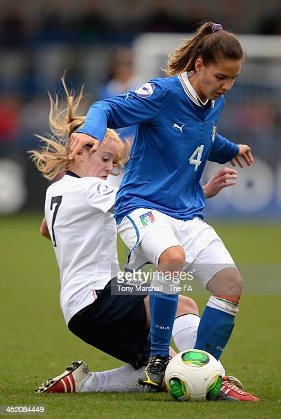 Federica Cavicchia of Italy tackled by Evie Clarke of England during the UEFA Womens U17 Championship Finals match between England and Italy at the...