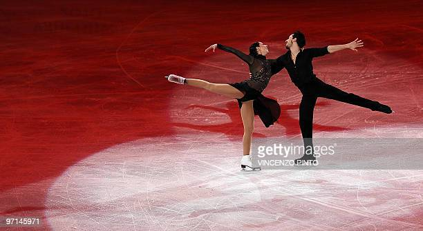 Federica Faiella and Massimo Scali of Italy perform during the 2010 Winter Olympics figure skating exhibition gala at the Pacific Coliseum in...