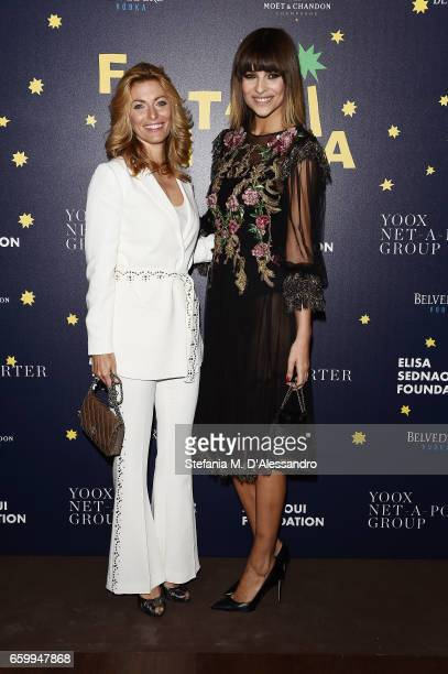 Federica Fontana and Cristina Chiabotto attend Elisa Sednaoui Foundation and Yoox Net a Porter Event on March 28 2017 in Milan Italy