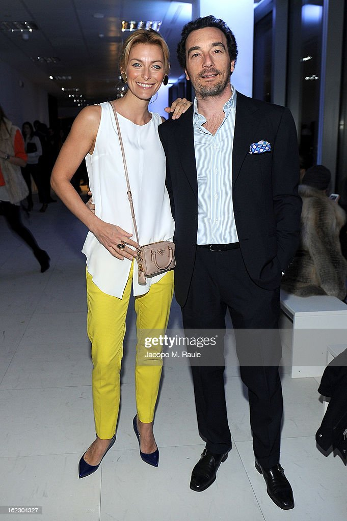 Federica Fontana and Felice Rusconi attend the Sergio Rossi presentation cocktail during Milan Fashion Week Womenswear Fall/Winter 2013/14 on February 21, 2013 in Milan, Italy.