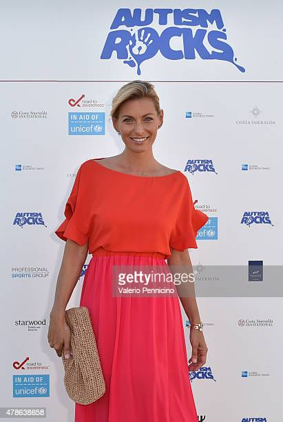 Federica Fontana arrives at the Welcome Dinner presented by Autism Rocks prior to The Costa Smeralda Invitational Golf Tournament at Pevero Golf Club...