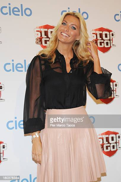 Federica Fontana attends a 'Stop Gol' show photocall at Cielo TV on September 12 2013 in Milan Italy