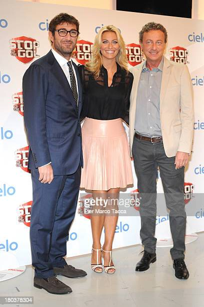 Federica Fontana Ciro Ferrara and Sandro Sabatini attend a Stop Gol show photocall at Cielo TV on September 12 2013 in Milan Italy
