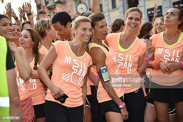 Federica Fontana Martina Colombari and Filippa Lagerback attend 'We Run Milano' Nike Women's 10km on June 5 2015 in Milan Italy
