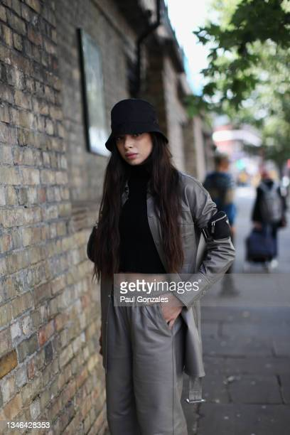 Federica Labanca is seen wearing a Grey Jacket with a Prada Bag at COS, during London Fashion Week September 2021 on September 21, 2021 in London,...