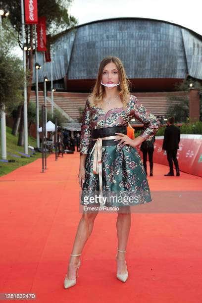Federica Lega poses the red carpet during the 15th Rome Film Festival on October 23, 2020 in Rome, Italy.