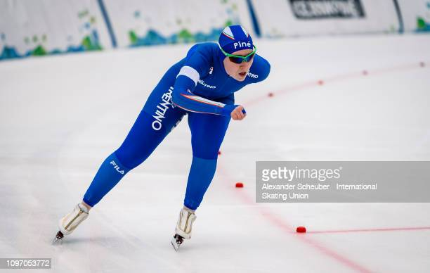 Federica Maffei of Italy competes in the Ladies 1500m sprint race during the ISU Junior World Cup Speed Skating Final Day 2 on February 9 2019 in...