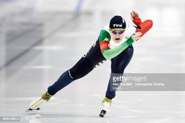 Federica Maffei of Italy performs in the women's 500 meter final during the ISU Junior World Cup Speed Skating event at Utah Olympic Oval on March 2...