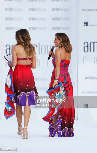Federica Masolin and Natalie Pinkham walk the runway at the Amber Lounge Fashion Monaco 2017 at Le Meridien Beach Plaza Hotel on May 26 2017 in...