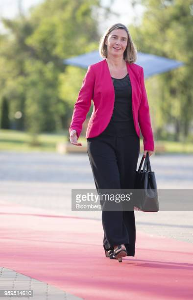 Federica Mogherini foreign policy chief of the European Union arrives for an informal dinner at Sofia Tech Park in Sofia Bulgaria on Tuesday May 15...