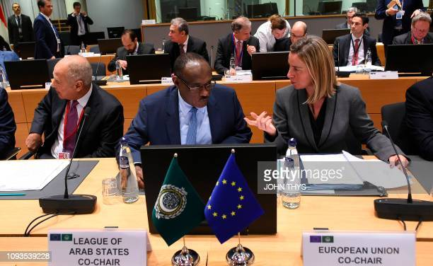 Federica Mogherini High Representative of the Union for Foreign Affairs talks with co chair of Arab League and foreign minister of Sudan Mohamed...