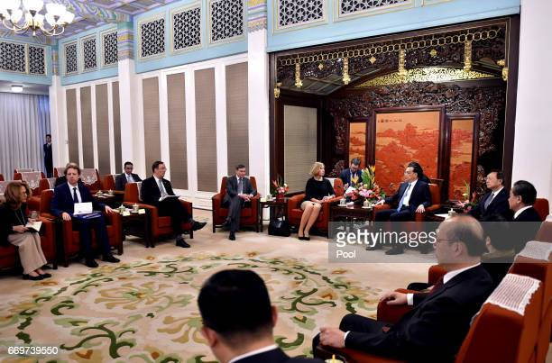 Federica Mogherini the High Representative of the European Union for Foreign Affairs and Security Policy and Chinese Premier Li Keqiang attend a...