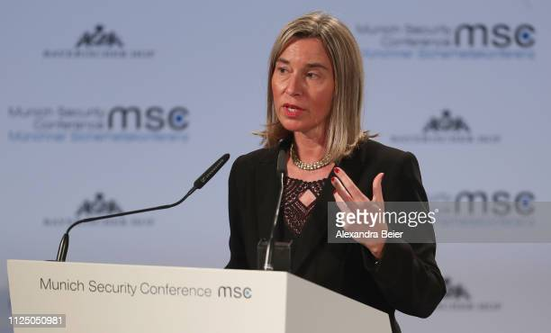 Federica Mogherini vice president of the European Commission and high representative for foreign affairs of the European Union gives her speech...