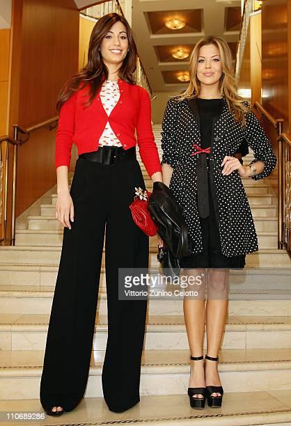 """Federica Nargi and Costanza Caracciolo attend the """"Premio E' Giornalismo 2010"""" Cocktail held at Hotel Four season on March 23, 2011 in Milan, Italy."""