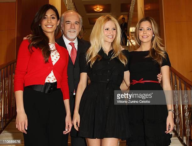 """Federica Nargi, Antonio Ricci, Michelle Hunziker, Costanza Caracciolo attend the """"Premio E' Giornalismo 2010"""" Cocktail held at Hotel Four season on..."""