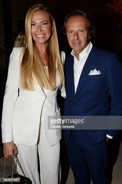 Federica Panicucci and Andrea Della Valle attend the Fay show as a part of Milan Fashion Week Womenswear Spring/Summer 2014 on September 18, 2013 in...
