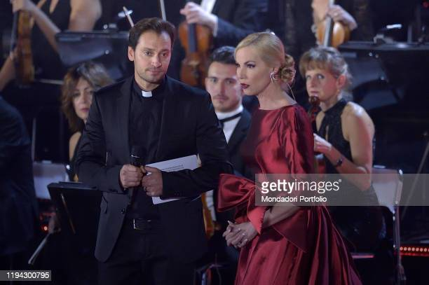 Federica Panicucci and Don Davide Banzato conducts the annual Christmas concert on December 14 2019 at the Paul VI hall in the Vatican Vatican City...