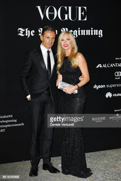 Federica Panicucci and Marco Bacini attend the Vogue Italia 'The New Beginning' Party during Milan Fashion Week Spring/Summer 2018 on September 22,...