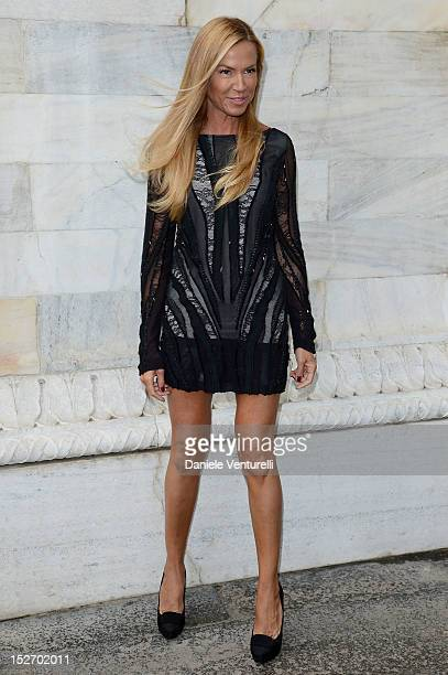 Federica Panicucci attends the Roberto Cavalli Spring/Summer 2013 fashion show as part of Milan Womenswear Fashion Week on September 24, 2012 in...