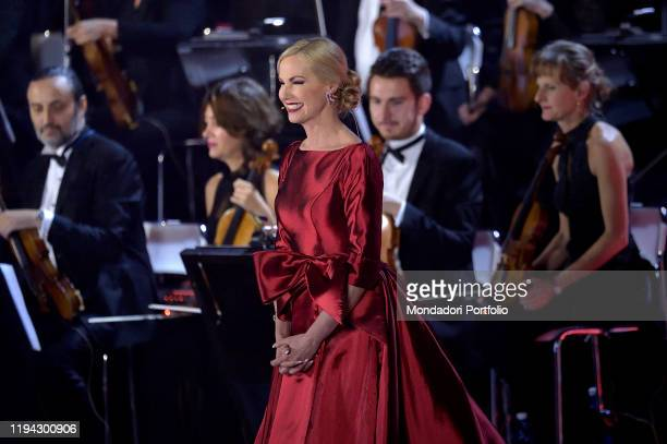 Federica Panicucci conducts the annual Christmas concert on December 14 2019 at the Paul VI hall in the Vatican Vatican City Vatican