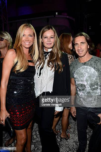 Federica Panicucci, Eva Cavalli and Mario Fargetta attend the new Just Cavalli boutique opening party as part of Milan Womenswear Fashion Week on...