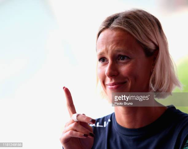 Federica Pellegrini gestures during the 56th 'Sette Colli' international swimming trophy at Foro Italico on June 21 2019 in Rome Italy