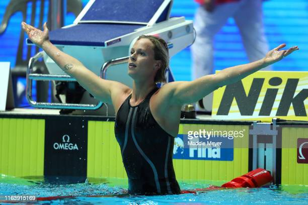 Federica Pellegrini of Italy celebrates after winning the Women's 200m Freestyle Final on day four of the Gwangju 2019 FINA World Championships at...