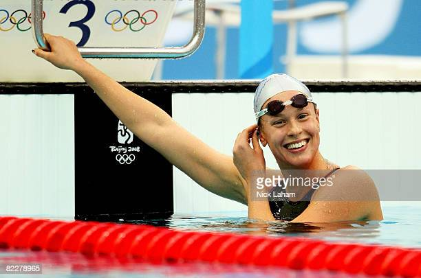 Federica Pellegrini of Italy celebrates finishing the Women's 200m Freestyle Final in first place at the National Aquatics Centre during Day 5 of the...