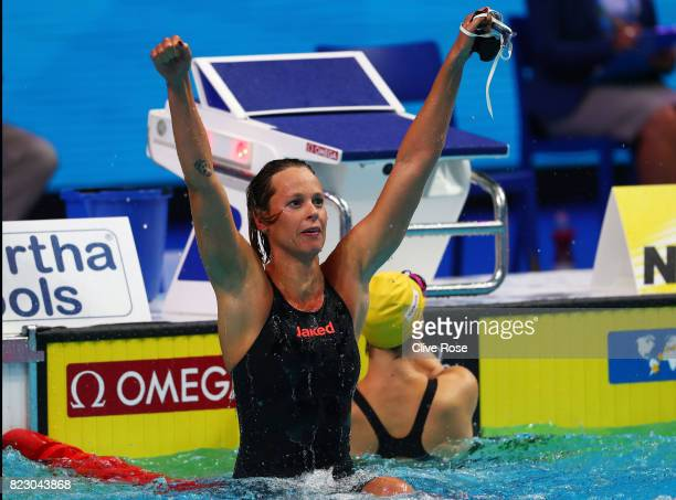 Federica Pellegrini of Italy celebrates winning the gold medal during the Women's 200m Freestyle final on day thirteen of the Budapest 2017 FINA...