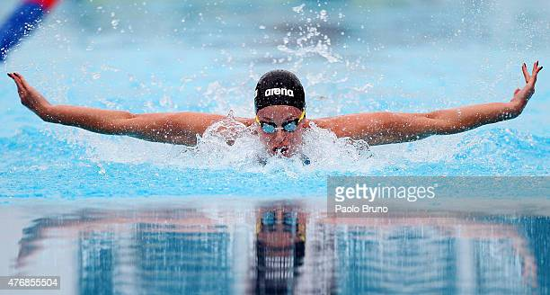 Federica Pellegrini of Italy competes in the Women's 100m Butterfly Final A during the International Settecolli Trophy at Piscine del Foro Italico on...