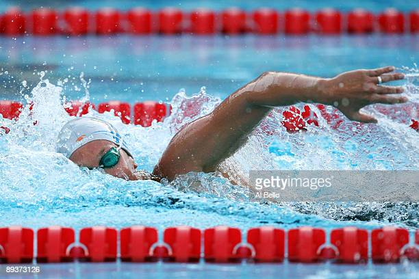 Federica Pellegrini of Italy competes in the Women's 200m Freestyle Semi Final, breaking the world record, setting a new time of 1:53.67 seconds...