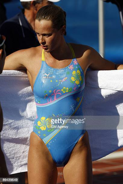 Federica Pellegrini of Italy dries herself with a towel after a training sessionduring the 13th FINA World Championships at the Stadio del Nuoto on...