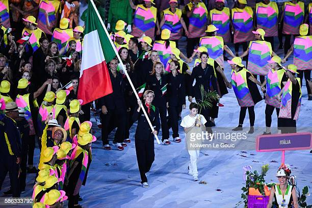 Federica Pellegrini of Italy during the Opening Ceremony 2016 on Olympic Games at Maracana Stadium on August 5, 2016 in Rio de Janeiro, Brazil.