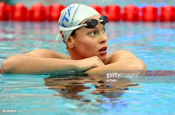 Federica Pellegrini of Italy finishes the Women's 200m Freestyle Semifinal 2 in first place held at the National Aquatics Center on Day 4 of the...