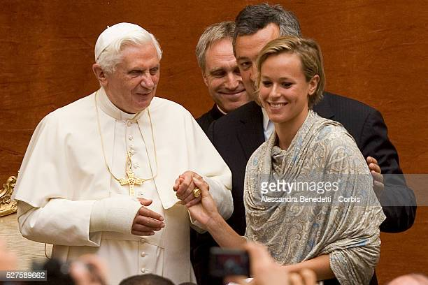 Federica Pellegrini of Italy , gold medallist in the women's 200-meter freestyle at the World Championships, with Pope Benedict XVI during a special...