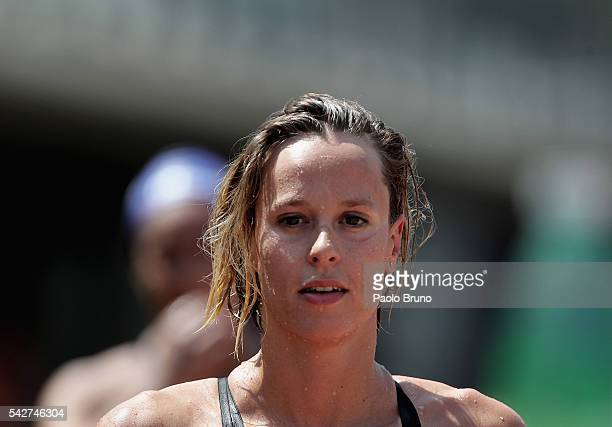 Federica Pellegrini of Italy looks on after competing in the Women's 50m Freestyle heats during the 53rd 'Sette Colli' International Swimming Trophy...