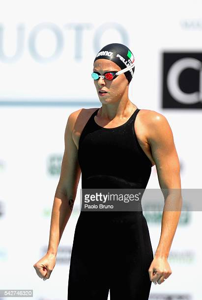 Federica Pellegrini of Italy looks on before to compete in the Women's 50m Freestyle heats during the 53rd 'Sette Colli' International Swimming...
