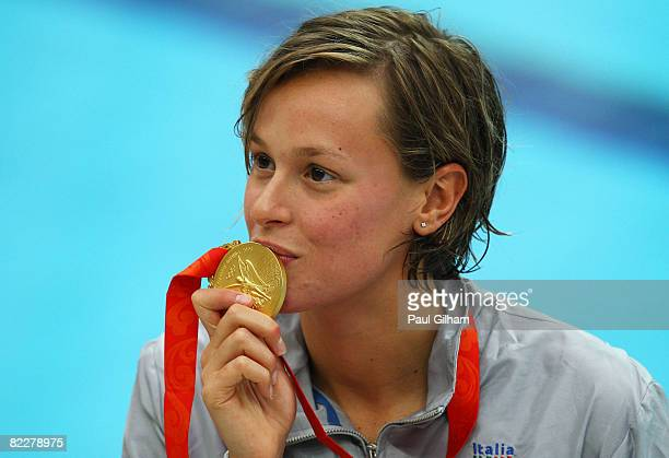Federica Pellegrini of Italy poses with the gold medal during the medal ceremony for the Women's 200m Freestyle held at the National Aquatics Center...