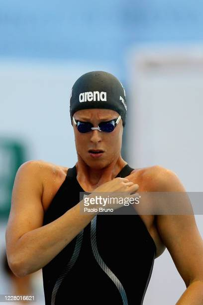 Federica Pellegrini of Italy prepares to compete in the women's 100m freestyle during the 57th Settecolli 2020 international swimming trophy at Foro...