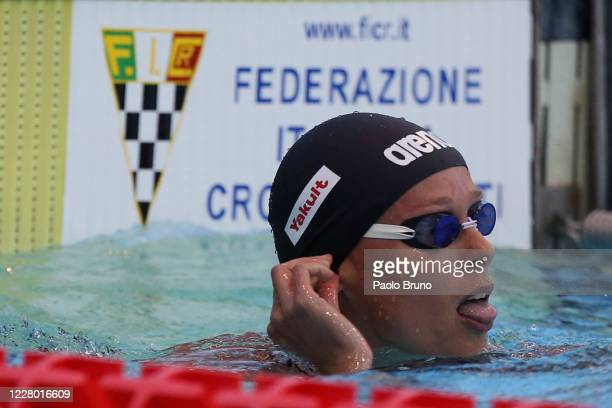 Federica Pellegrini of Italy reacts after the women's 100m freestyle during the 57th Settecolli 2020 international swimming trophy at Foro Italico on...